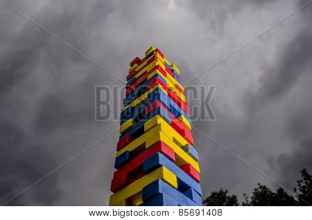Tower of the children's toy blocks
