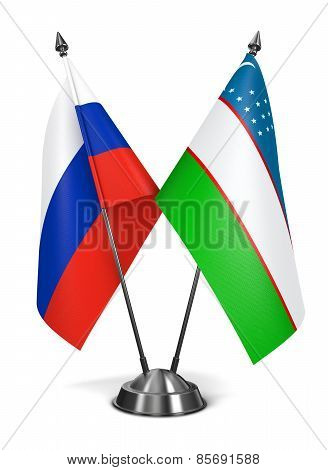 Russia and Uzbekistan - Miniature Flags.