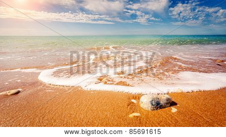 Fantastic view azure sea glowing by sunlight. Dramatic morning scene. Location Makauda, Sciacca. Sicilia, southern Italy. Beauty world.