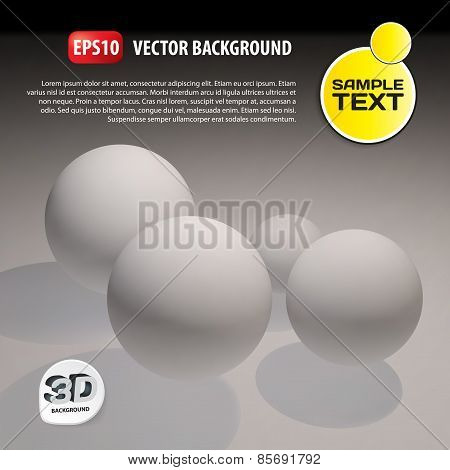 3D Vector Template Background. Abstract Balls Illustration