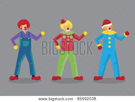 Colorful Clown Costumes Vector Illustration