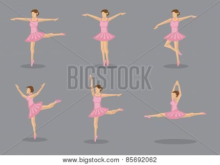 Classical Ballerina Dancer In Pink Tutu Vector Icon Set