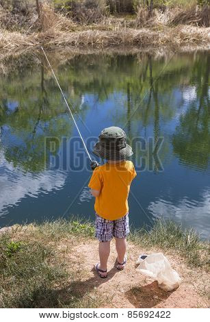 Little boy fishing in a pond view from behind