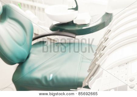 Dental tools on a dentist's chair