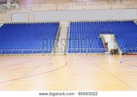 Blue stadium seats hall handball
