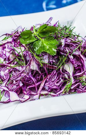 Portion of Red Coleslaw on wooden background