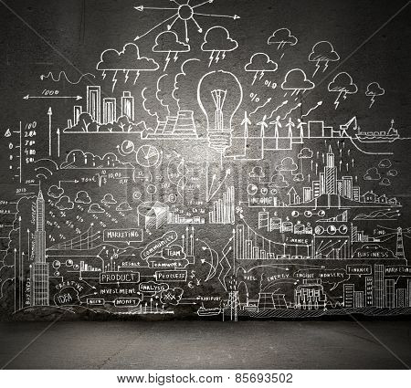 Background conceptual image with business sketches on wall