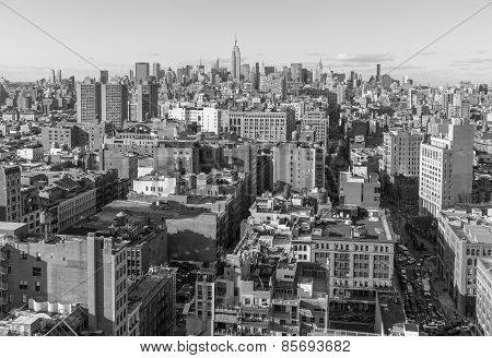 USA, NEW YORK CITY - April 27, 2012 New York City Manhattan skyline aerial view with street and skys
