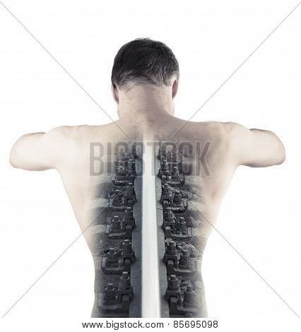 Steel Railway Rail As A Backbone Of Muscular Young Male