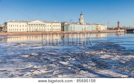 Petersburg. Winter Landscape With Floating Ice On Neva River