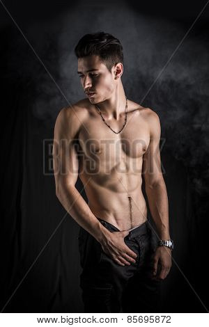 Handsome Shirtless Muscular Young Man's Profile