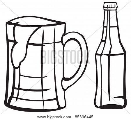 Jug and bottle of light beer