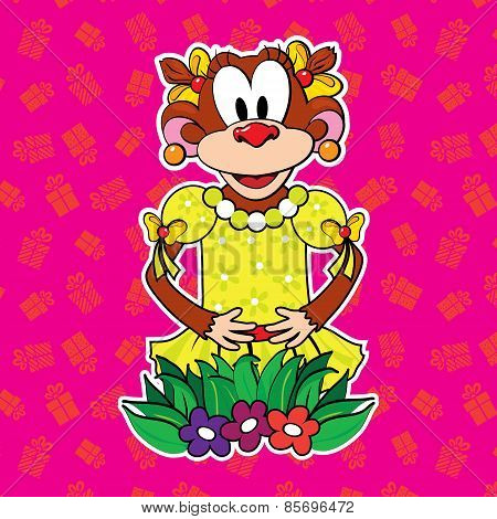 Monkey in dress on bright background. vector.