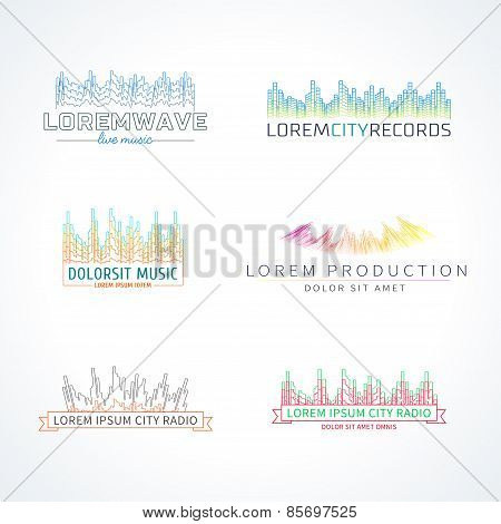 Set of music wave logo vector elements