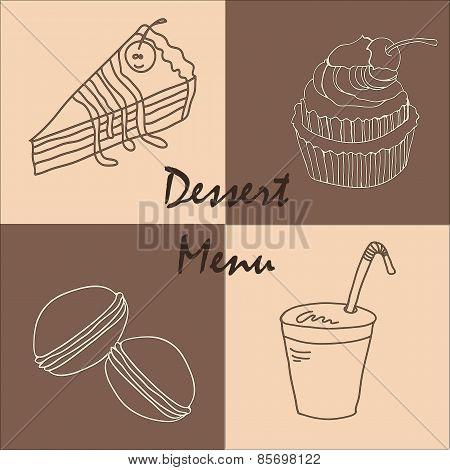 Vintage postcard chocolate dessert menu