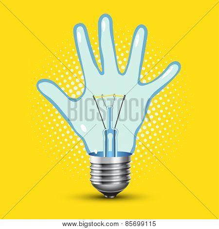 child hand light bulb