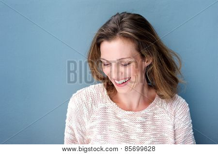 Beautiful Mid Adult Woman Laughing With Sweater