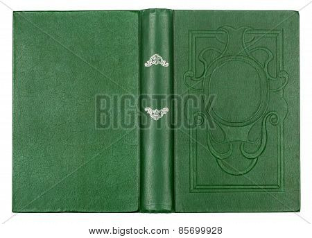 Vintage Green Book With Embossed On An Isolated White Background