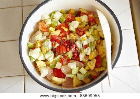 Fresh fruit and vegetables salad