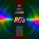 picture of lp  - 80s style party DJ mix cover with music waveform as a vinyl grooves - JPG