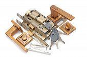 pic of door-handle  - door handles locks and keys isolated on white background - JPG