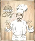 pic of chef cap  - Graphic hand drawing chef cook showing okay - JPG