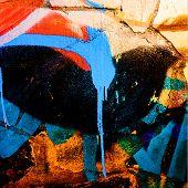 stock photo of graffiti  - Graffiti on the old plaster walls blue black - JPG