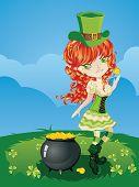 foto of leprechaun  - Pretty leprechaun girl on grass field St - JPG