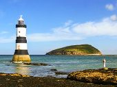 picture of anglesey  - Trwyn Du Lighthouse and Puffin Island in the island of Anglesey (Wales)