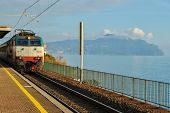 stock photo of promontory  - A train at the station of  - JPG