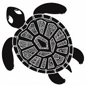 Постер, плакат: Decorative graphic turtle tribal totem animal