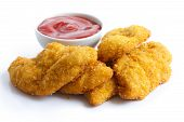 picture of fried chicken  - Golden fried chicken strips on white - JPG