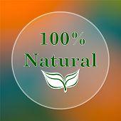 stock photo of 100 percent  - 100 percent natural icon - JPG