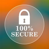 stock photo of 100 percent  - 100 percent secure icon - JPG