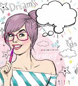 stock photo of bubbles  - Fashion sketch illustration girl with pen in the hand with speech bubble - JPG