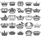 pic of queen crown  - Vector Collection of Doodle Vintage Style Crown Silhouettes - JPG