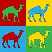 pic of saharan  - Pop art camel symbol icons - JPG