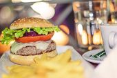 stock photo of hamburger-steak  - hamburger with french fries and soft drink - JPG