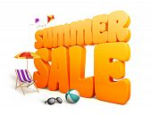 stock photo of kites  - 3D Dimensional Summer Sale Title Words in White Background with Flying Kites - JPG