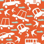 stock photo of swallow  - Colorful seamless pattern with cars and swallows - JPG