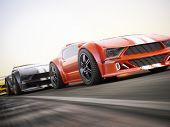 Постер, плакат: The race Exotic sports cars racing with motion blur Generic custom photo realistic 3d rendering