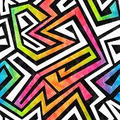 pic of maze  - graffiti maze seamless pattern with grunge effect - JPG