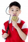 foto of badminton player  - Happy Asian boy in badminton action isolate on white background - JPG