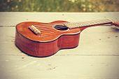 stock photo of ukulele  - Ukulele processed in vintage style - JPG