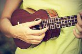 image of ukulele  - Woman playing ukulele vintage style - JPG