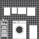 foto of laundry  - Grey laundry room interior with ceramic tile wall front loading type washing machine laundry basket drying towels and shelving with clean towels packs of washing powder bar of soap and small basin in flat style - JPG