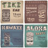 pic of tiki  - Set of Retro Hawaiian banners  for your business - JPG