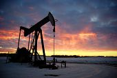 picture of fuel pump  - Silhouette of an oil pump jack in the sunset - JPG