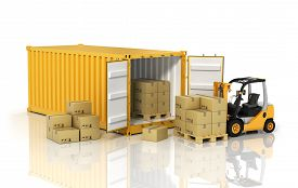 stock photo of forklift  - Open container with forklift stacker loader holding cardboard boxes - JPG