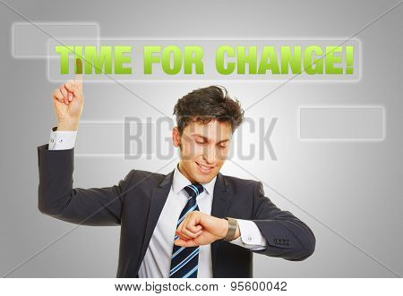 Time for change and sustainable growth with business man checking his watch